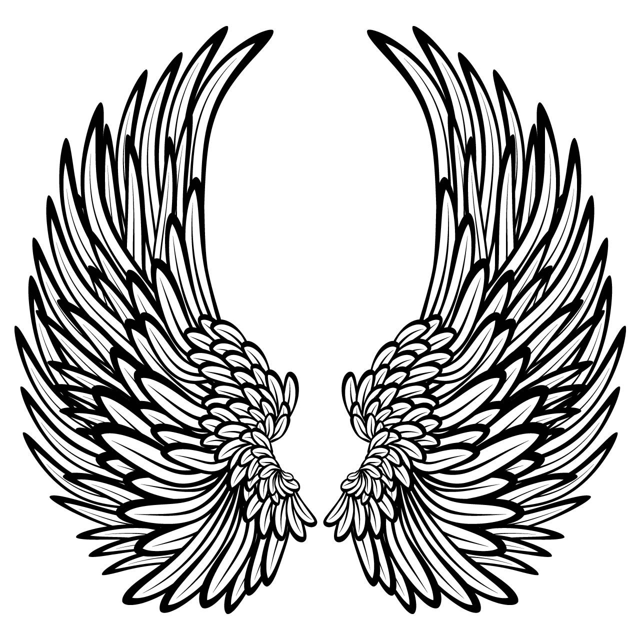 Angel Wings With Feathers Wall Stickers / Wall Decals.