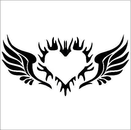 Angel Wings Decal with Heart, angels decals, angels stickers.