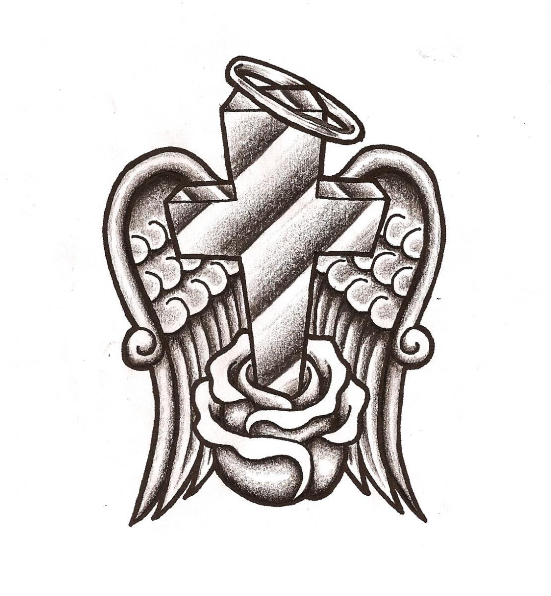 Coloring Pages Cross With Angel Wings.