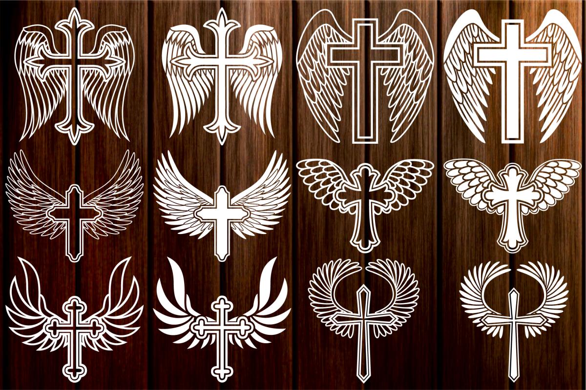 Cross with Wings SVG, Cross Svg, Memorial SVG, Angel Wings.