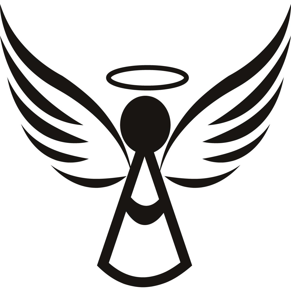 Best HD With Halo Xmas Wall Art Heart Angel Wings Clipart Black.