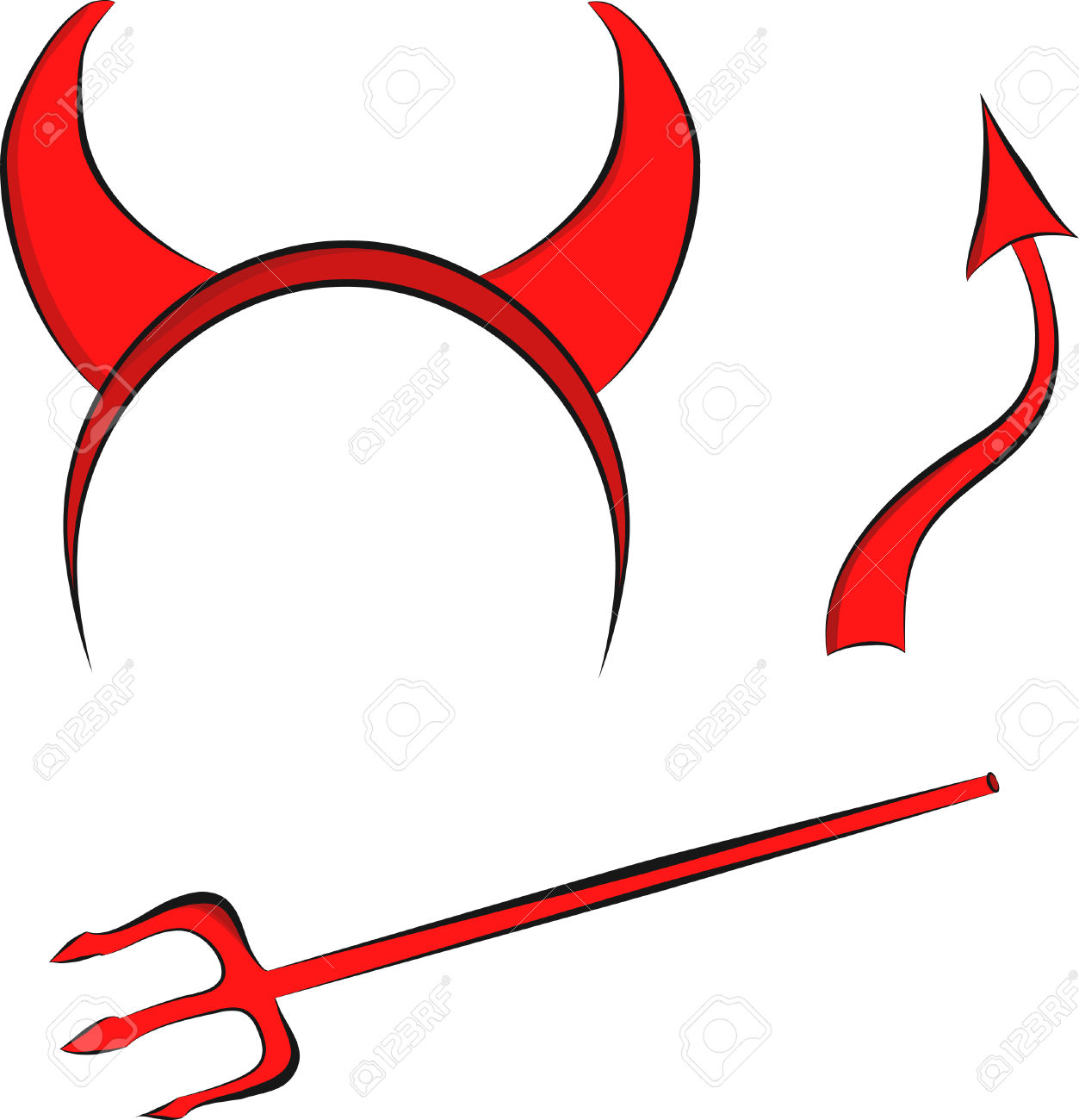 Devil Horns And Tail Clipart.