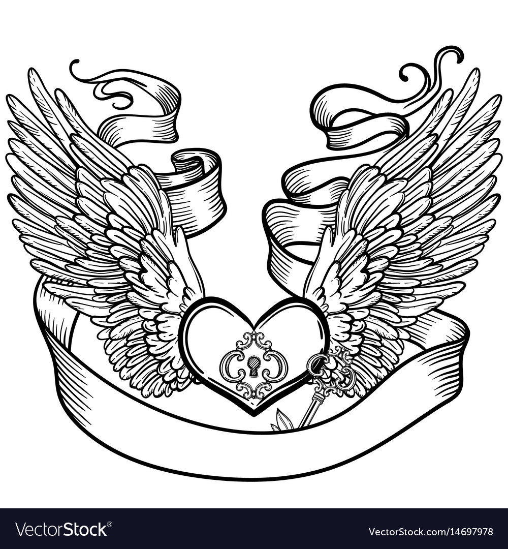 Line art of angel wings and heart.
