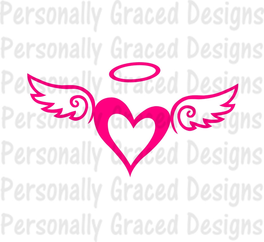 Heart With Angel Wings Silhouette.