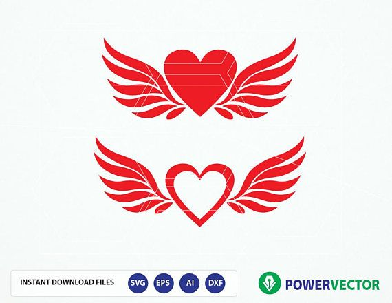 Svg File Heart Angel Wings. Love Valentines Svg. Hearts Svg.