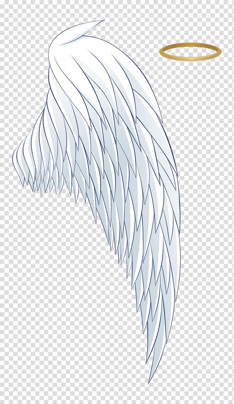 White wing with halo illustration, Angel Aureola Wing Icon, White.