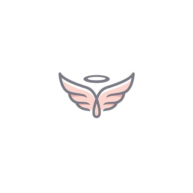 Angel wings with halo logo design, with a modern outline.