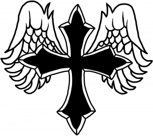 Cross With Wings Silhouette.