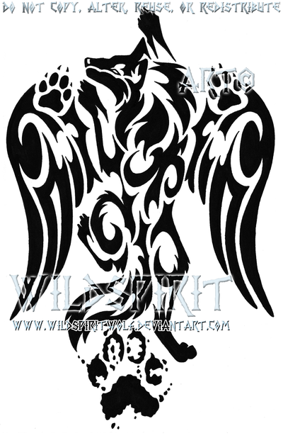 Pawprint Winged Wolf Tattoo by WildSpiritWolf.deviantart.com.