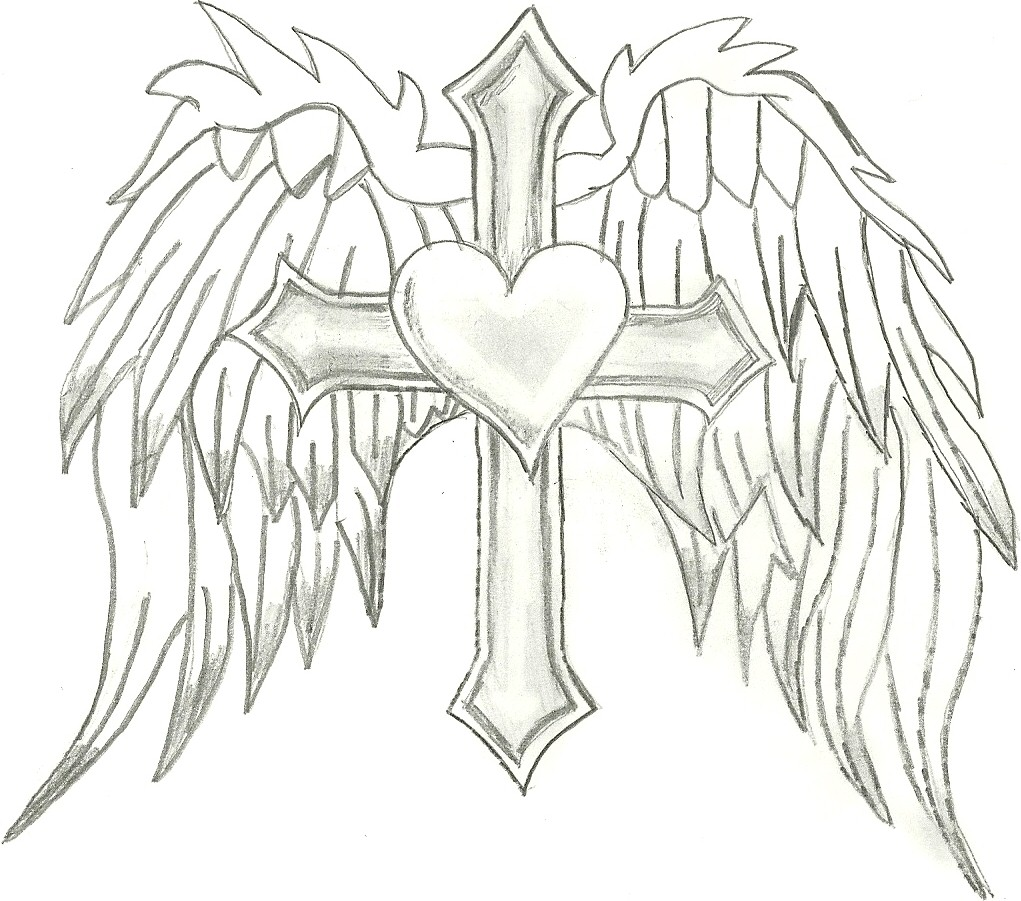 Angel Wings With Cross Clipart.