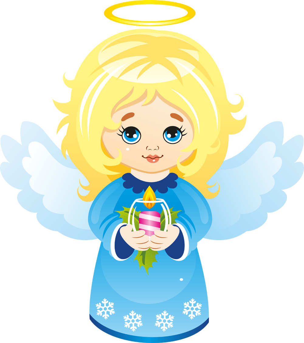 Cute Christmas Angel with Candle Clipart.