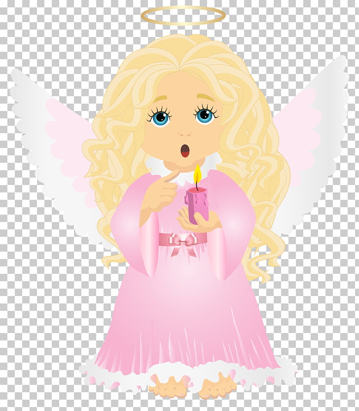 Cartoon Illustration, Cute Blonde Angel with Candle.