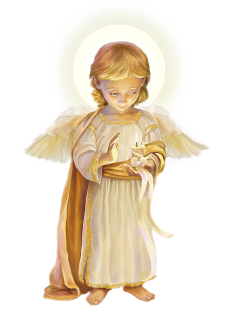 Little Angel with Candle PNG Clipart Picture.