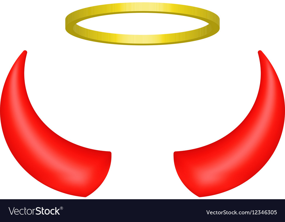 Red devil horns and angel halo.
