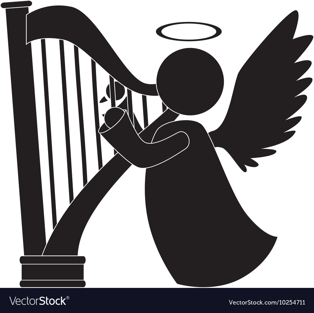 Angel harp play musical instrument icon.