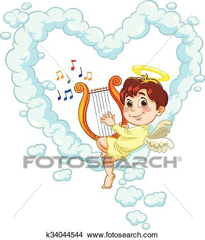 Angel and Harp Clipart.