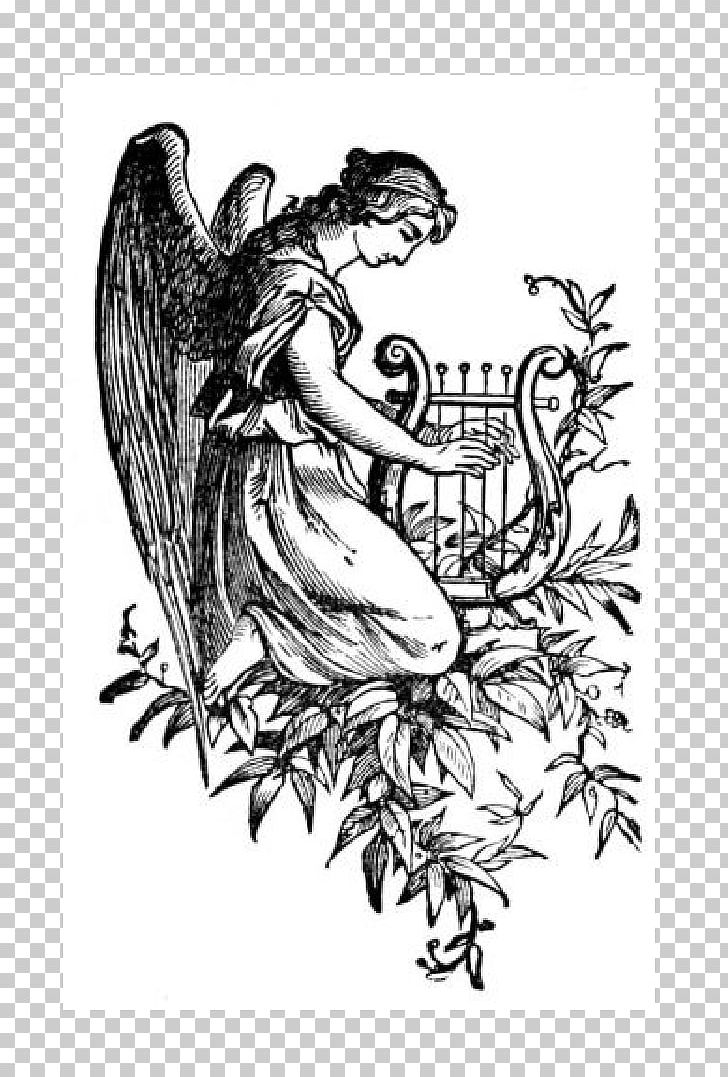 Cherub Harp Drawing Angel PNG, Clipart, Angel, Arm, Art, Artwork.