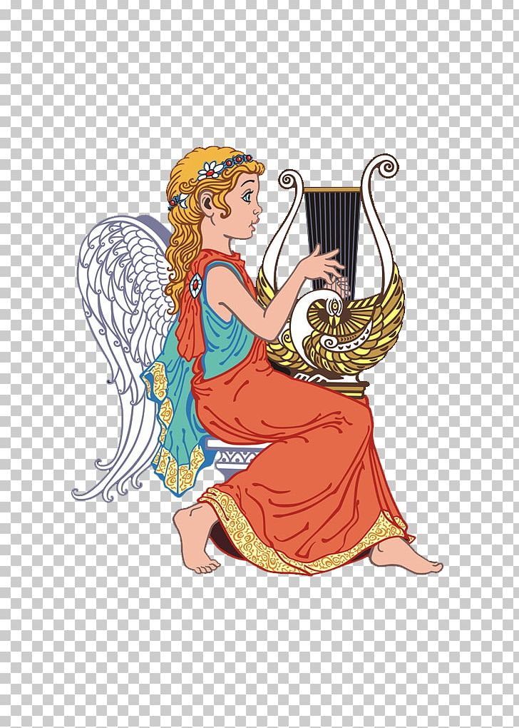 Angel Lyre Harp Illustration PNG, Clipart, Angel Wings, Art, Baby.
