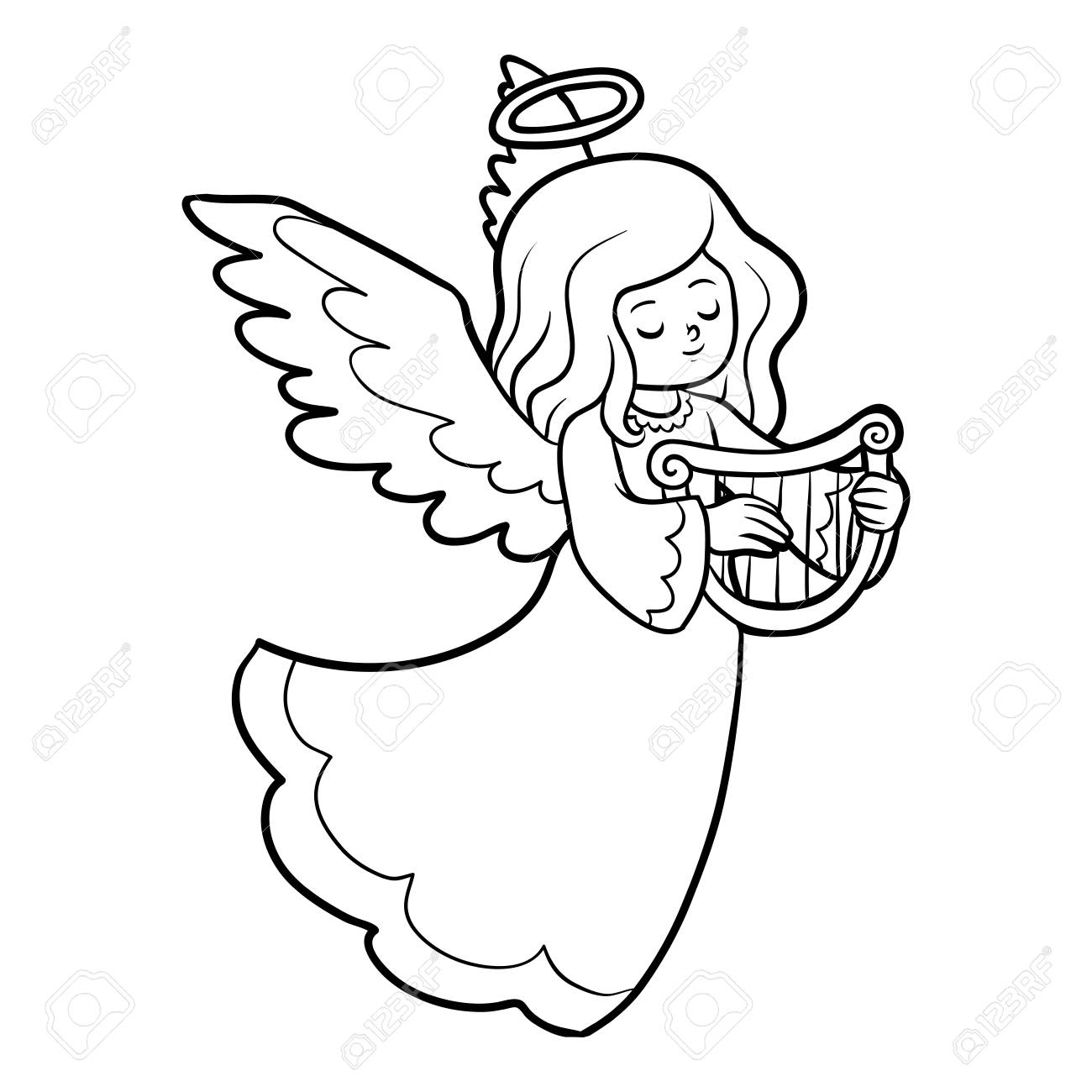 Coloring book for children, Angel with harp.