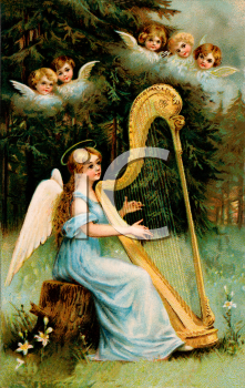 Royalty Free Clip Art Image: An Angel Playing the Harp in the Forest.