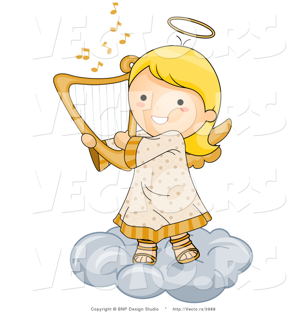 Cartoon Vector of Happy Angel Girl Playing Harp on a Cloud by BNP.