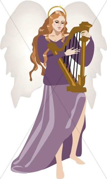Angel with Harp Clipart.