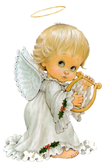 Cute Angel with Harp Free PNG Clipart Picture.