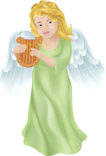 Angel with Harp clip art.