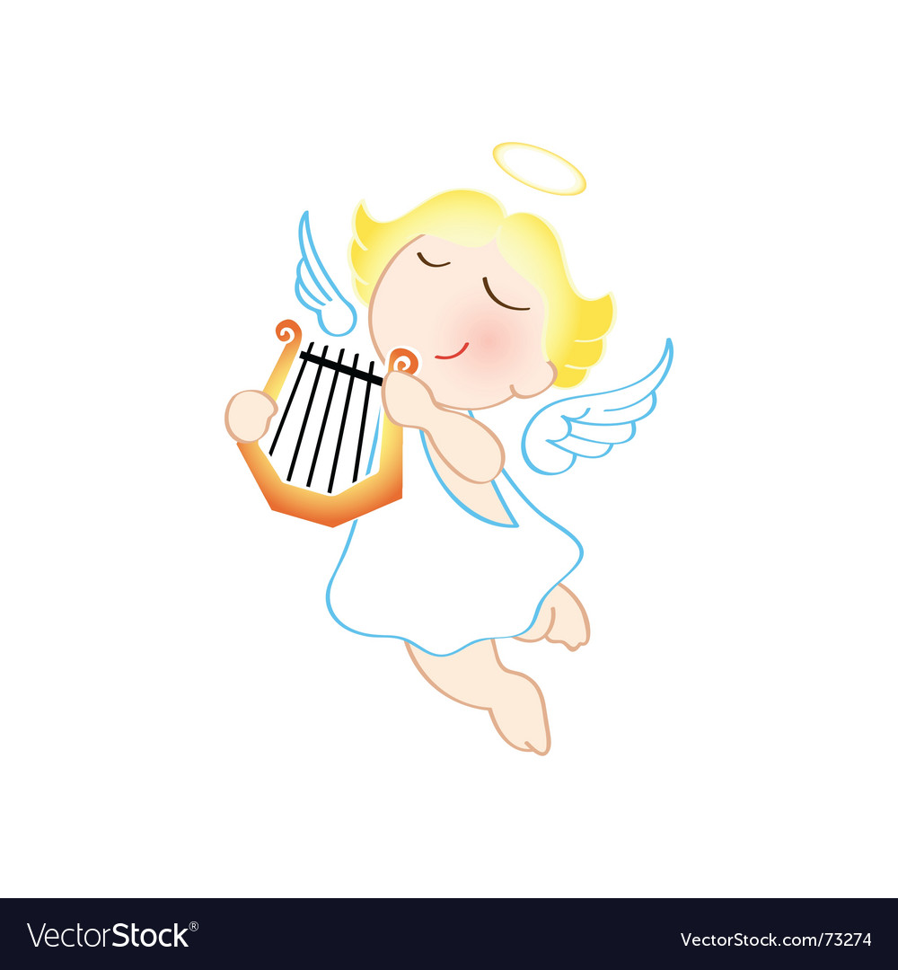 Angel with harp.