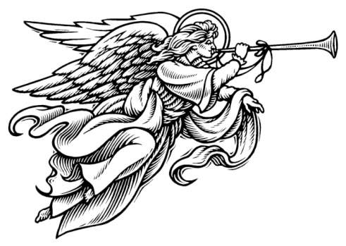 White Angel With Trumpet Clipart.