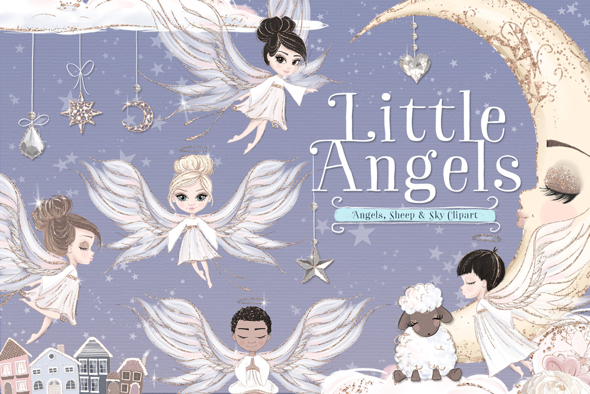 Little Angels Illustration Clipart Kit.