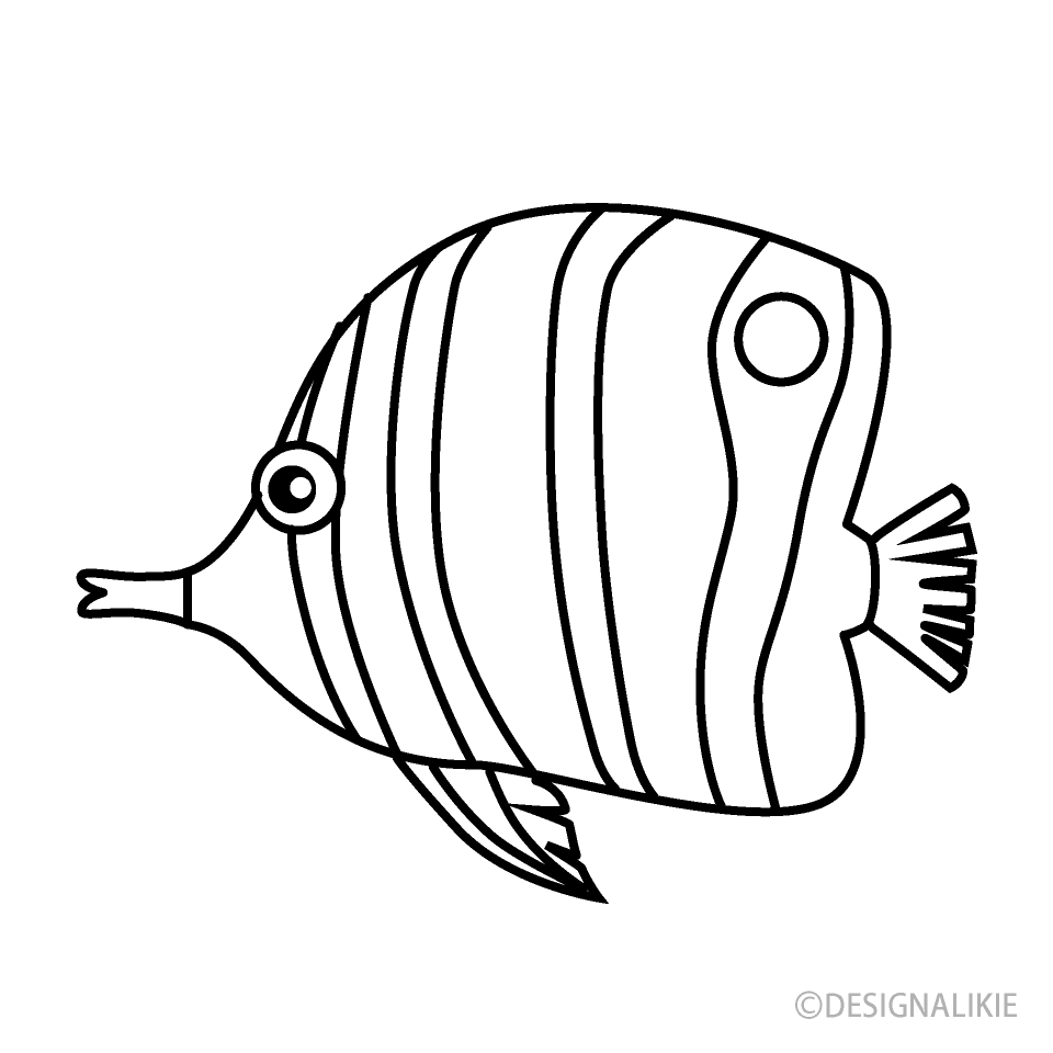 Free Angelfish Black and White Image|Illustoon.