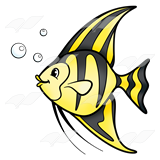 A Beka Book :: Clip Art :: Angelfish—yellow with black stripes.