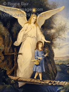 Stock Illustration: Guardian Angels Protecting Children.