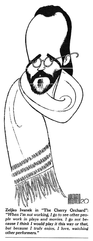 """Al Hirschfeld ~ Zeljko Ivanek in """"The Cherry Orchard""""."""