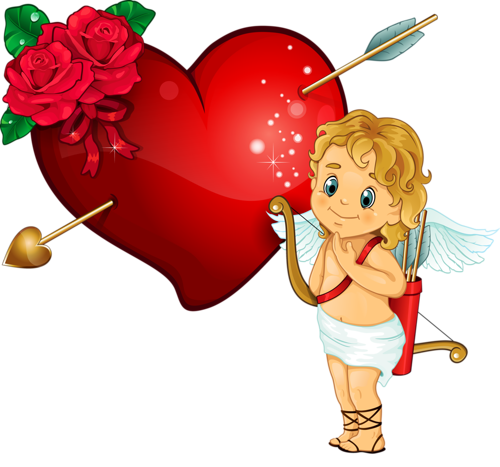 Cupidon with Heart Arrow and Rose Clipart.