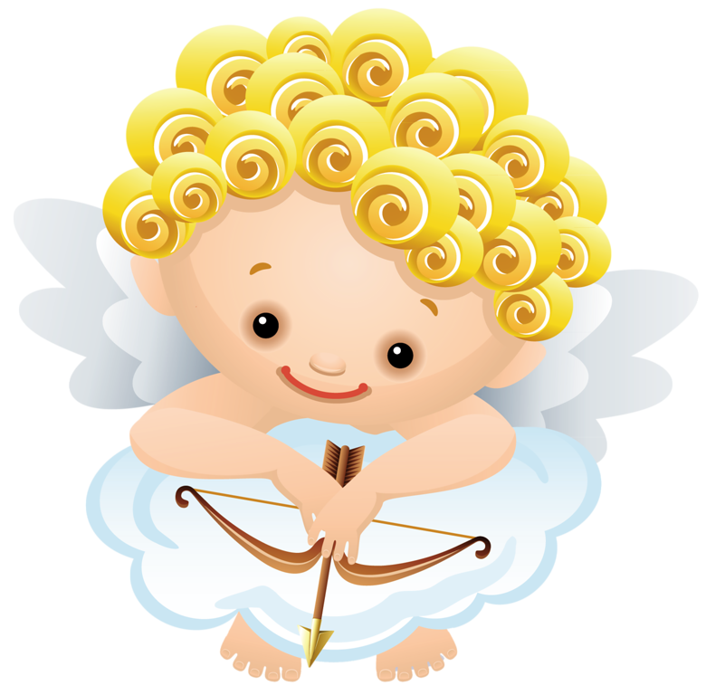 Cartoon Angel with Bow PNG Clipart.