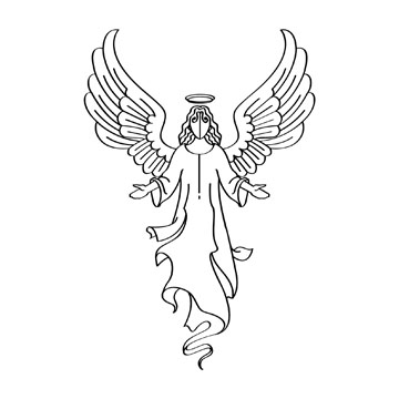 Religious Angel Black Clipart.