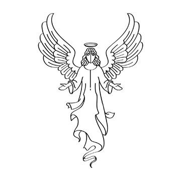 Religious Angel Black Clipart.