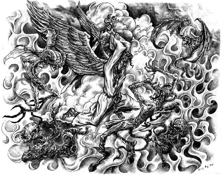 Angel vs Demon Drawings.