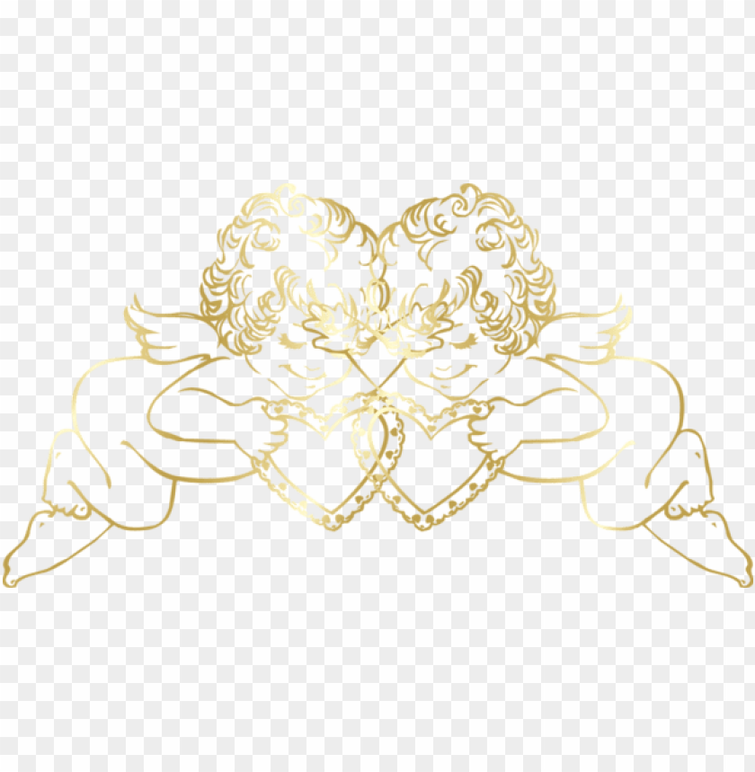 Download transparent gold angels with hearts decorative.