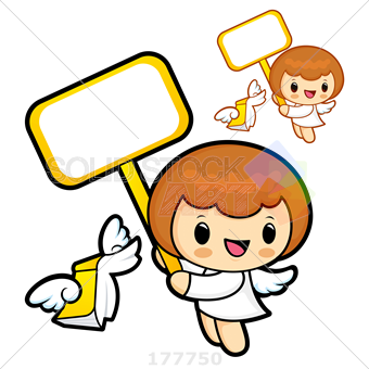 Stock Illustration of Two cute cartoon angels smiling and holding signs.