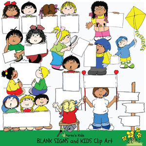 Clip Art Kids Holding Blank Signs 1.