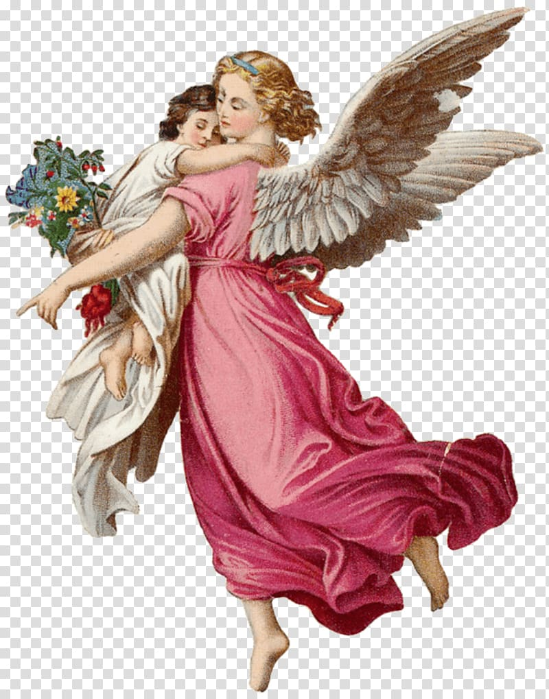 Brown haired female angel, Two Angels transparent background.