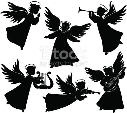 Set of six angels silhouettes including praying angel, and.