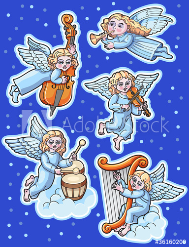 Christmas Set of angels with musical instruments.