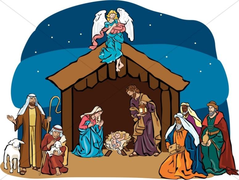 Nativity Scene with Angel Overhead.