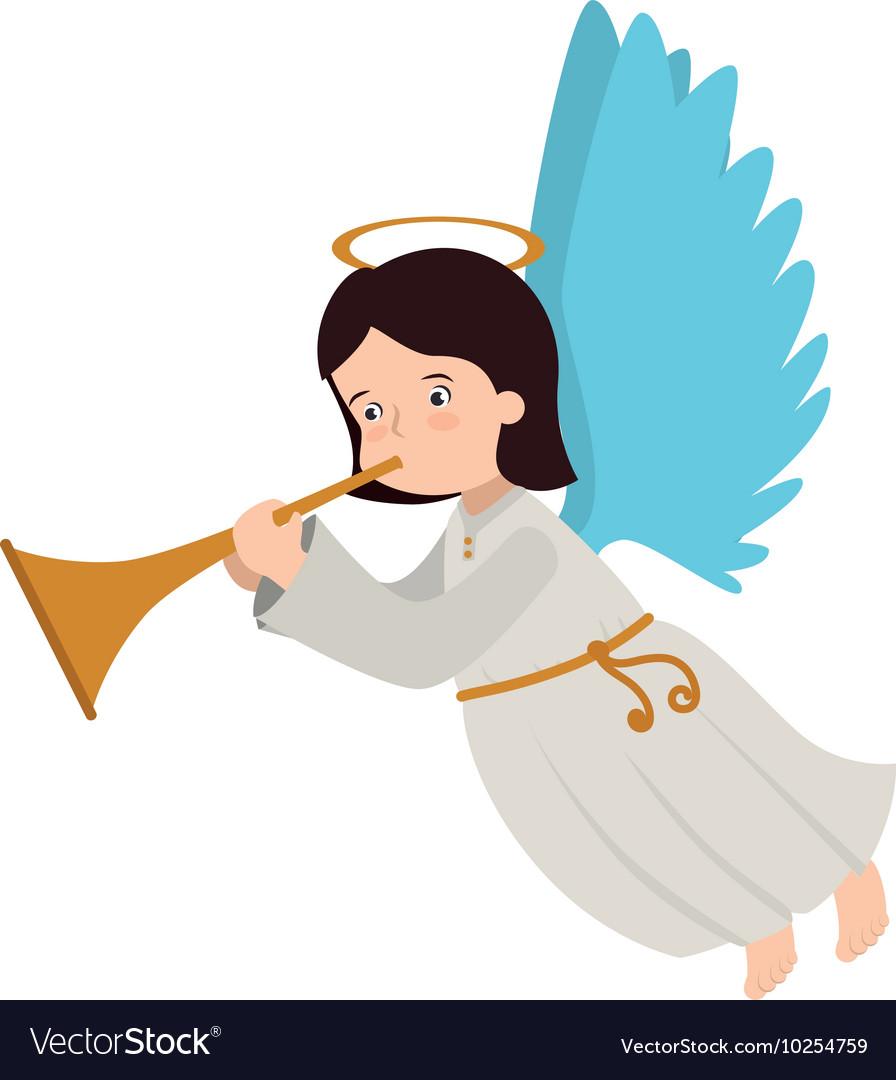 Angel trump musical instrument icon.