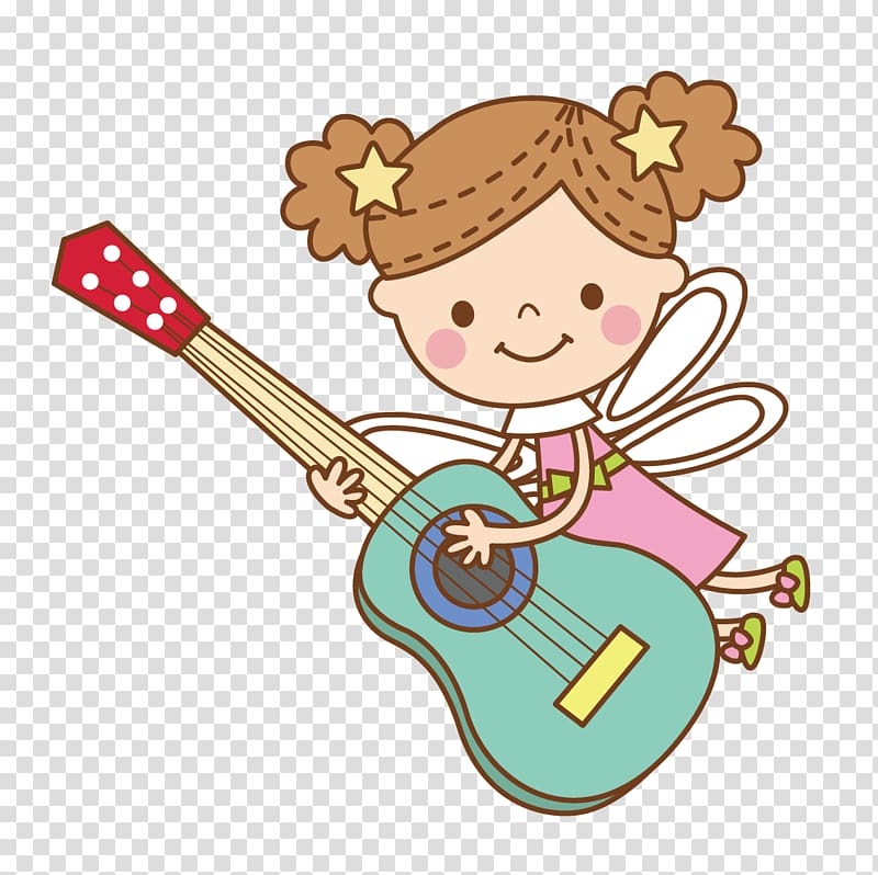 Girl playing green guitar illustration, Guitar Cartoon.