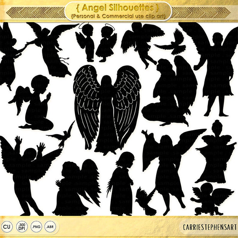 Guardian Angel Clip Art, Christian Graphic Supply, Clipping Mask  Silhouette, Digital Graphics, Christmas Church Newsletter Graphics.